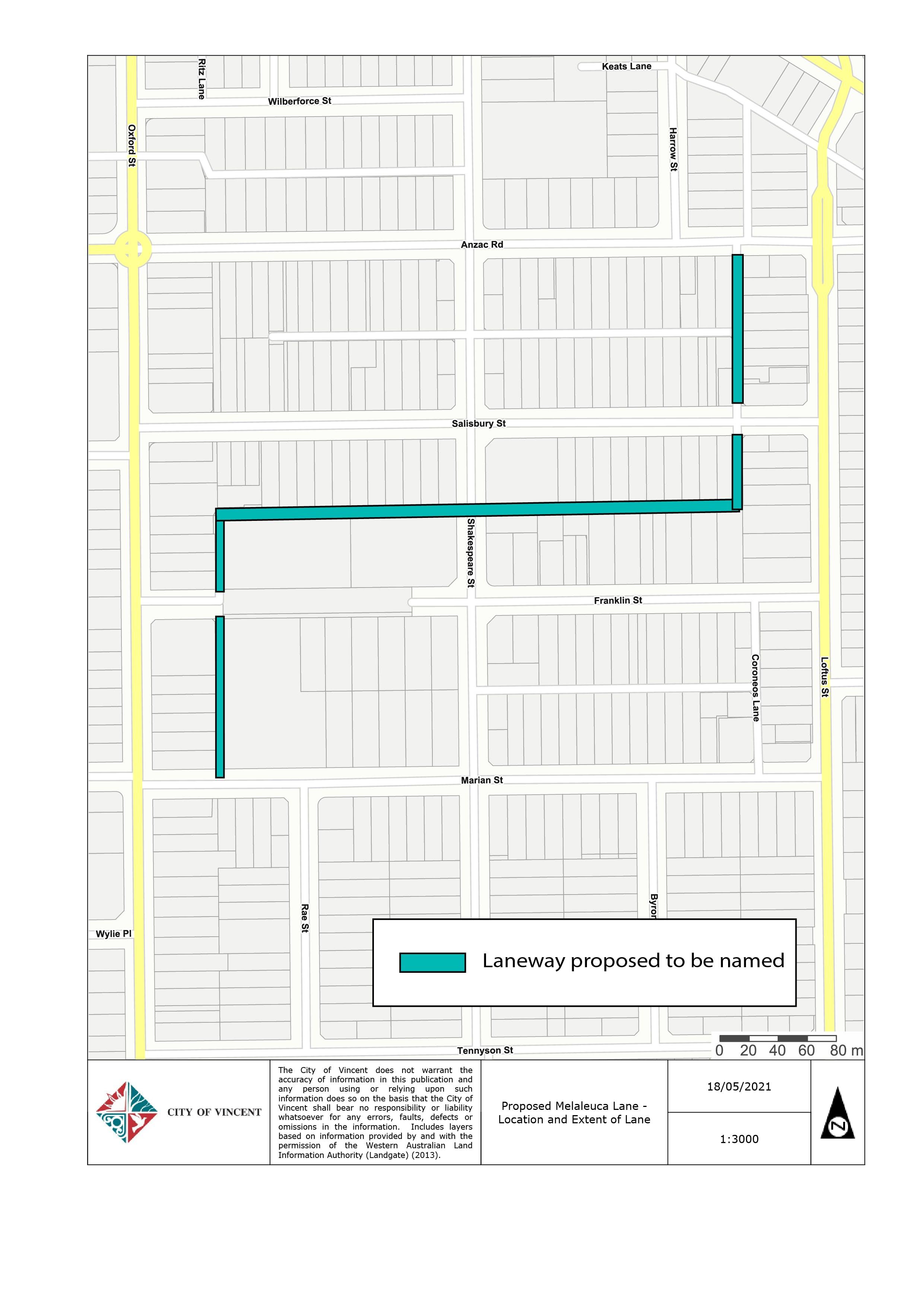 Melaleuca Lane - Location and Extent of Lane