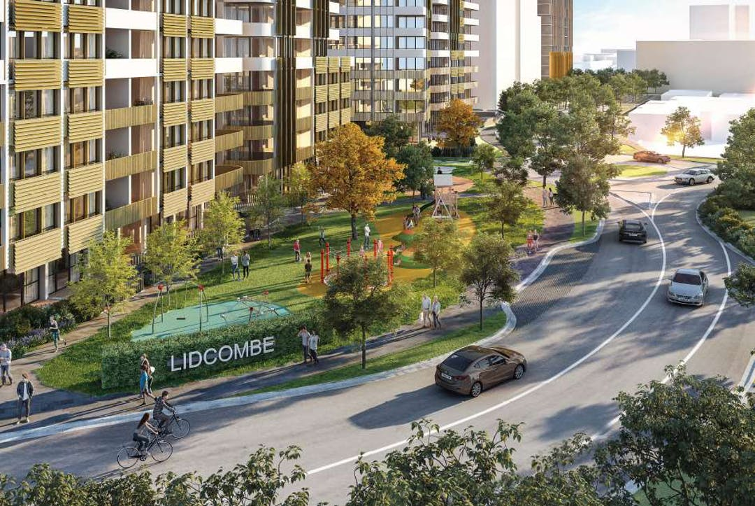 Concept design for 2-36 Church St Lidcombe, with apartments fronting green space and Church Street in the foreground
