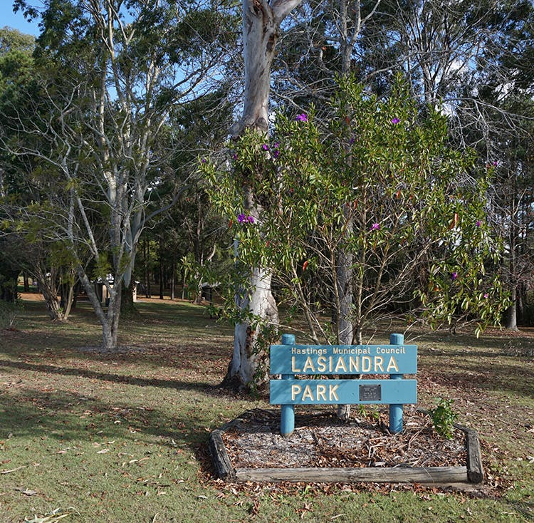 Photo of the sign in the park land and a lasiandra plant