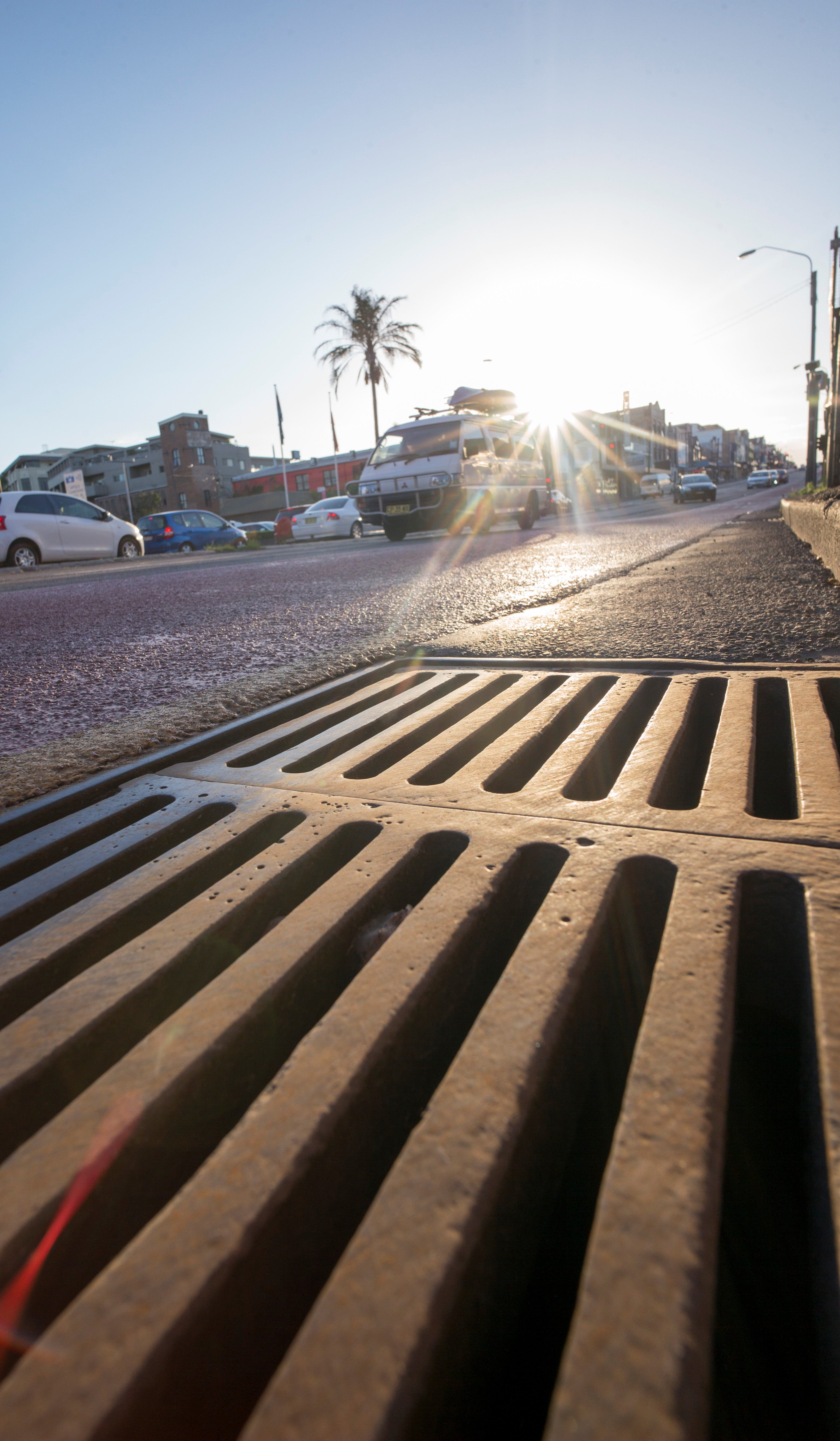 Stormwater drain on a road