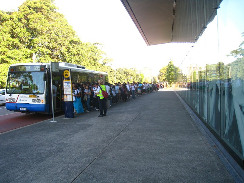 UNSW students queue outside NIDA