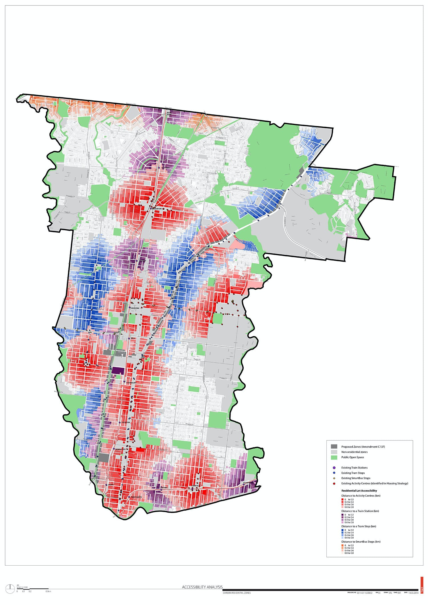 Accessibility Analysis (800m Walking Catchments from activity centres and major transport) Municipal Map