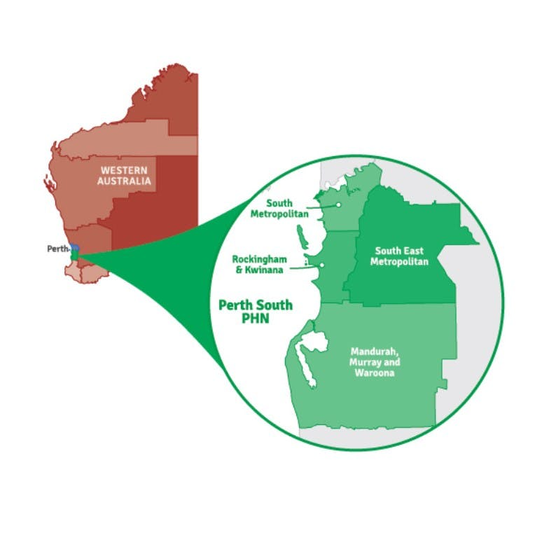 A map showing WA with a pop out of the Perth South PHN region comprising of South Metropolitan, Rockingham/Kwinana, Mandurah/Murray/Waroona and South East Metropolitan.