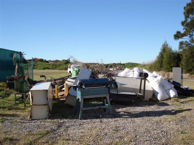 Dumped rubbish in parkland