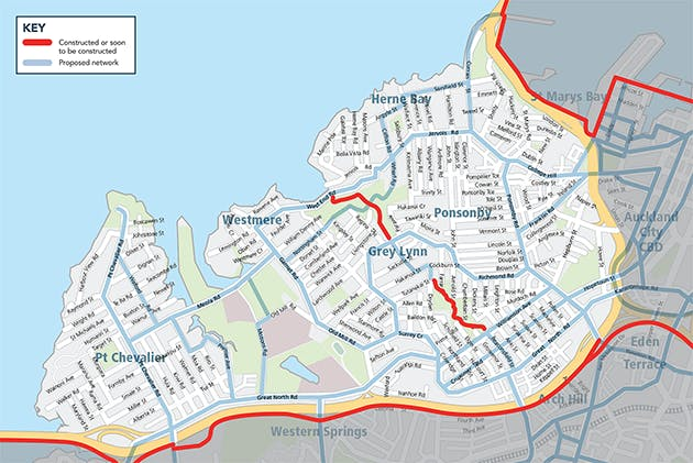 Map showing proposed and already cosntructructed cycle networks in Pt Chev, Westmere, Grey Lynn, Ponsonby and Herne Bay.