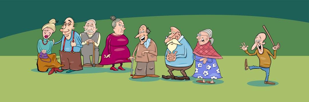 Cartoon image of fun aged people