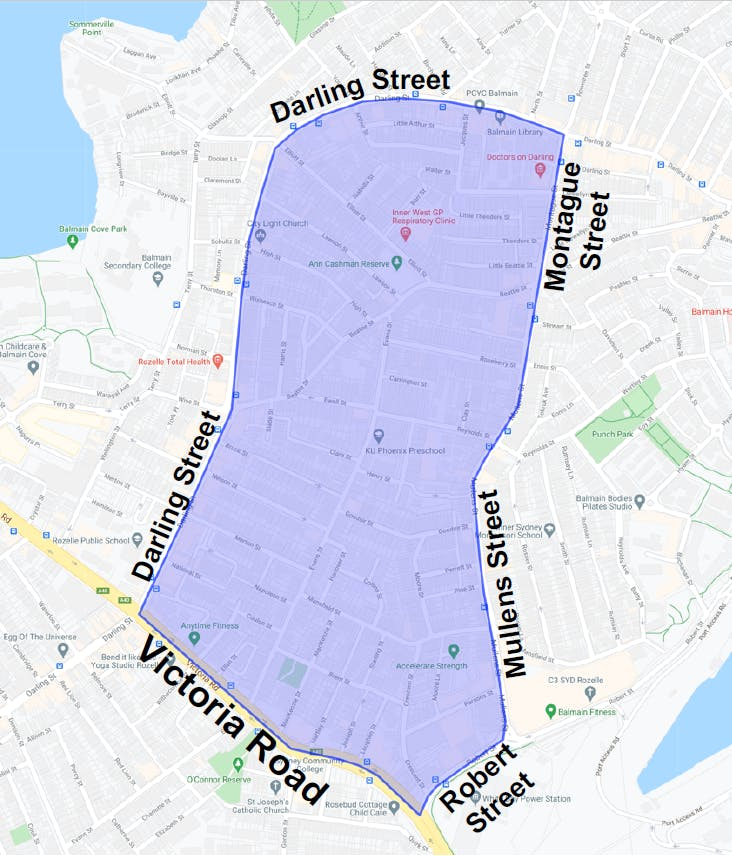 The study area is bounded by Darling Street, Montague Street, Mullens Street, Robert Street and Victoria Road.