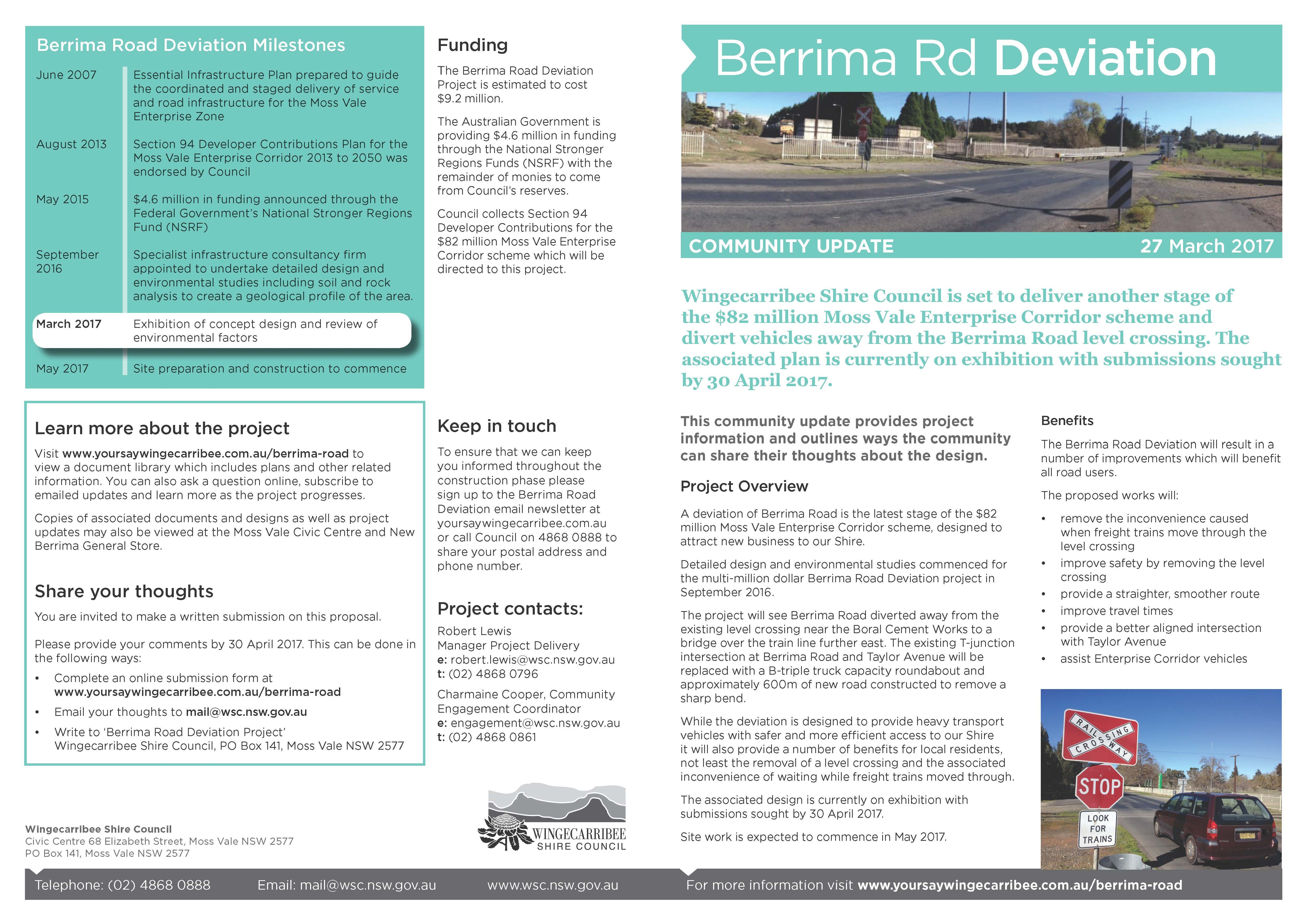 Cover and back page of Community Update - 27 March 2017