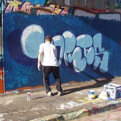 Legal graffiti wall, Katoomba
