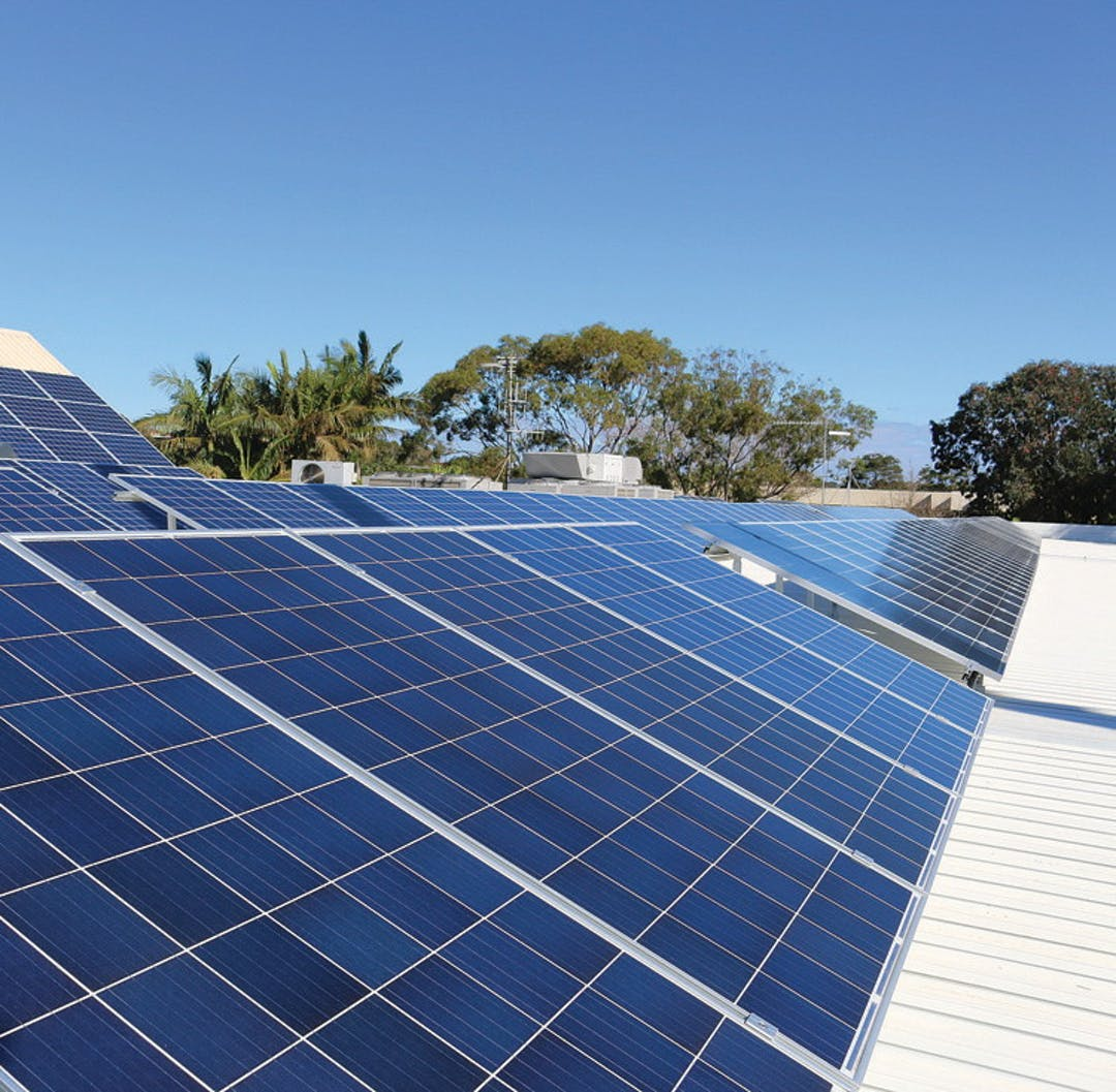 Three rows of solar panels on the Port Macquarie Library roof