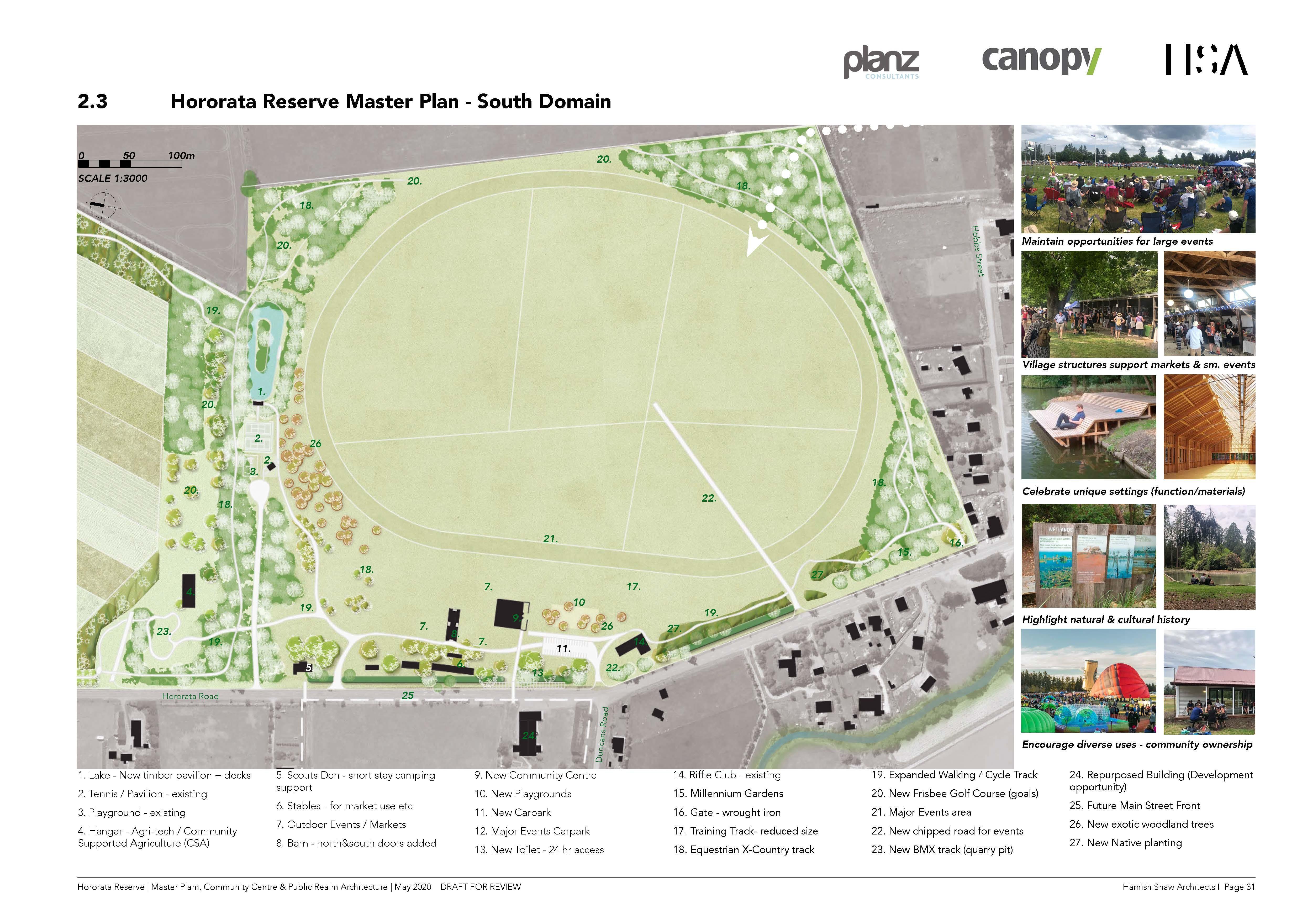 Hororata Reserve Master Plan - South domain