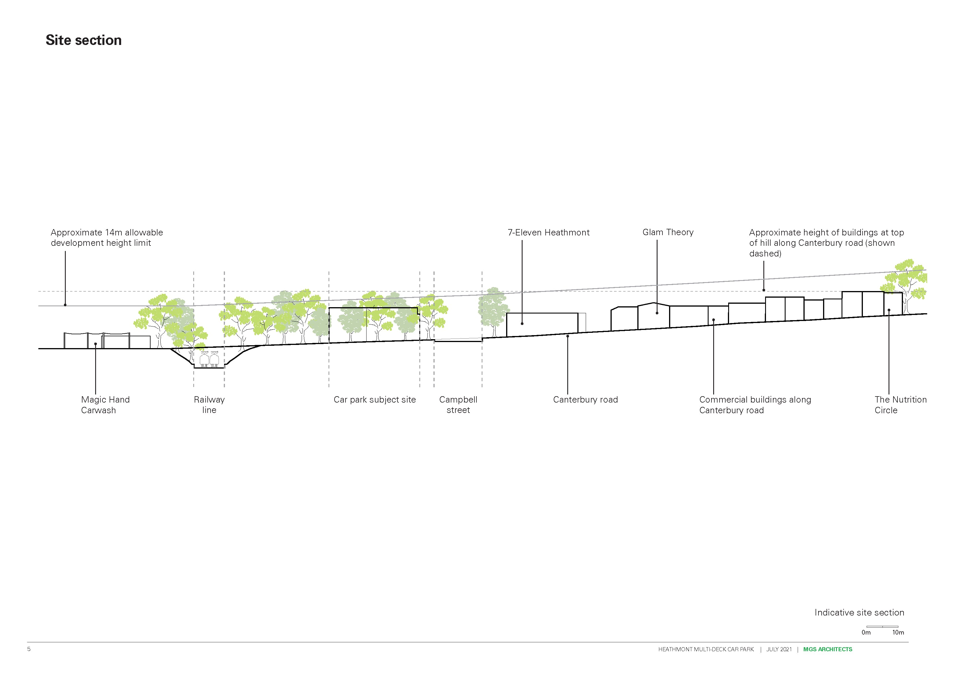 Elevation view showing building height line along Canterbury Road.png