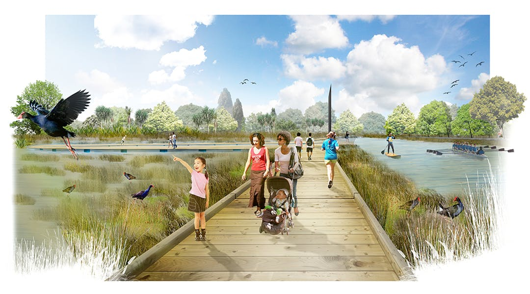 Artist's impression of a scene in the Otakaro Avon River Corridor Regeneration Area