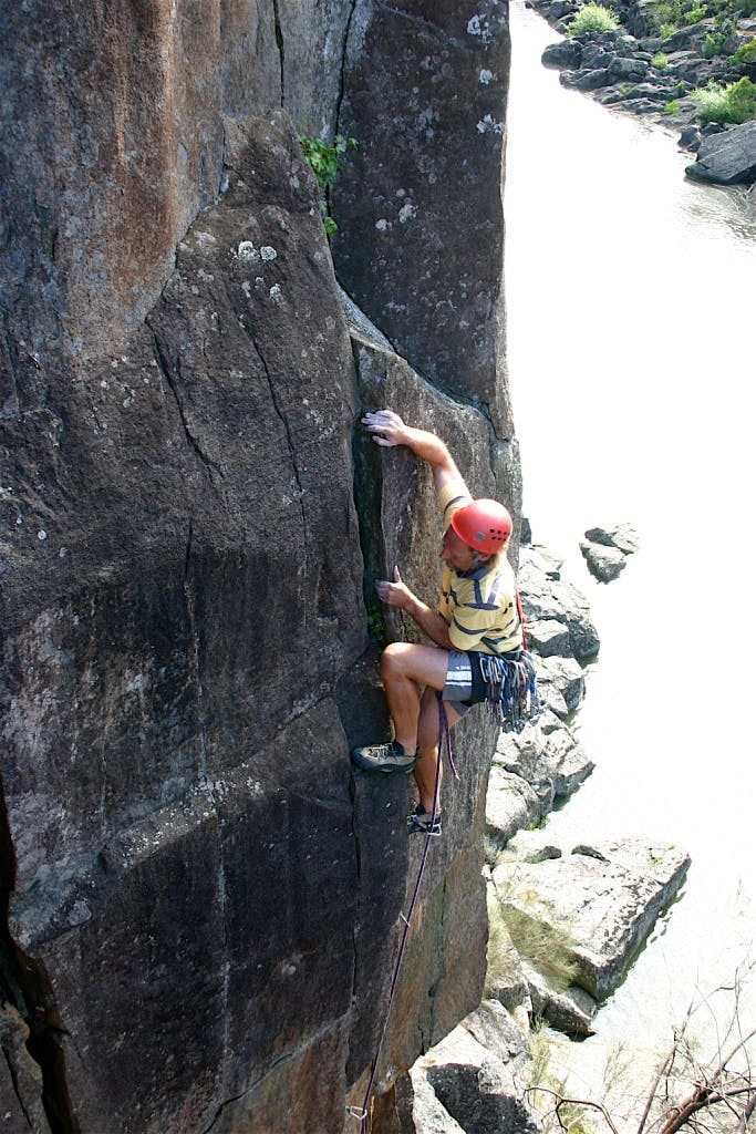 Rock climbing in the Cataract Gorge
