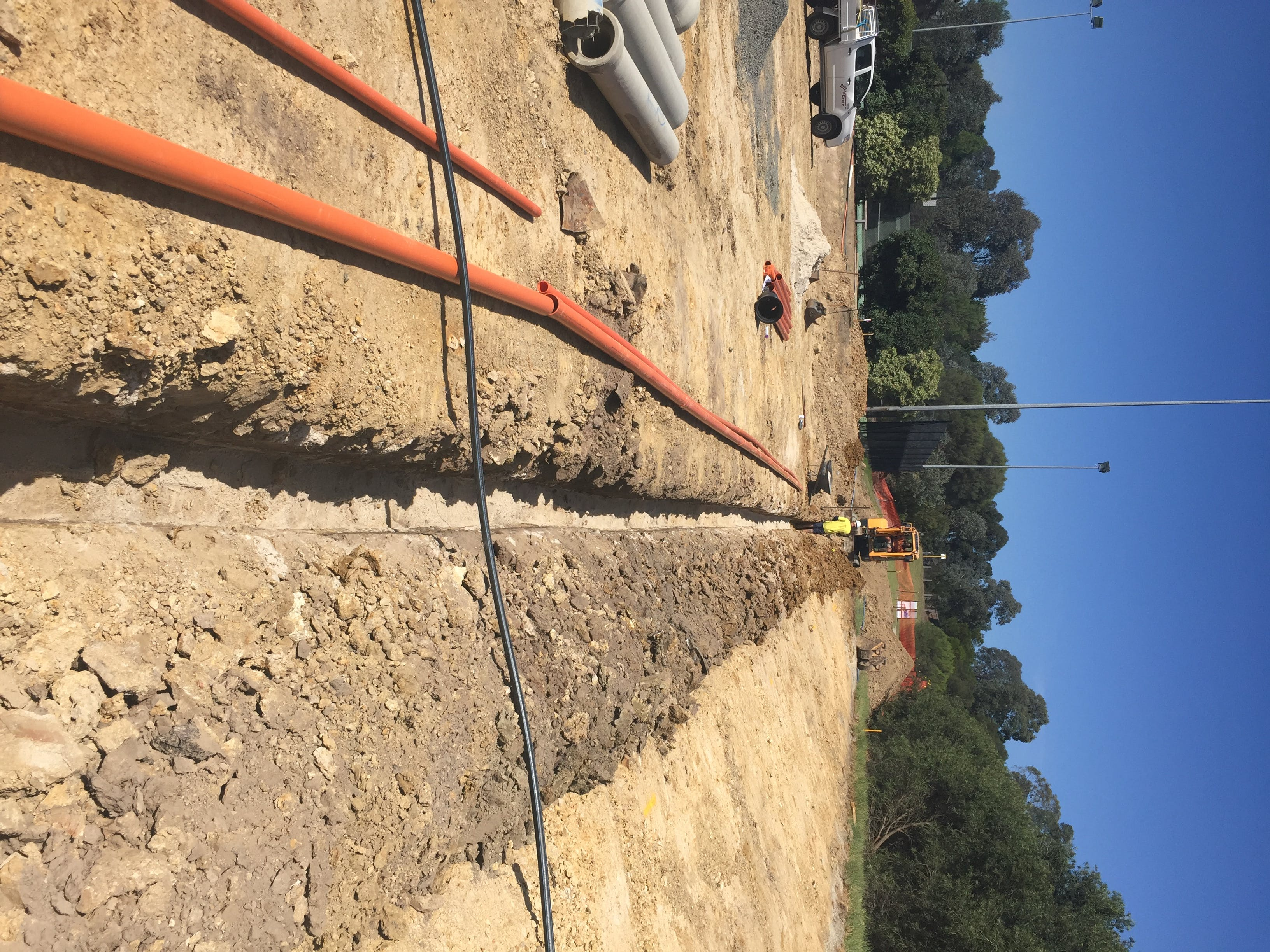 Installation of underground electrical conduits for future upgrades to public lighting.