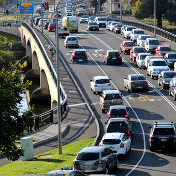 Cars travelling on swan street bridge