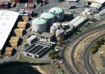 Aerial view of the Macquarie Point Sewage Treatment Plant on the former Hobart Railyards site.