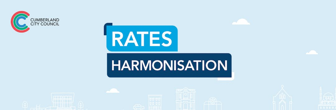 "Graphic that reads ""Rates Harmonisation"" in large writing with icons of a cityscape along the base of the graphic"
