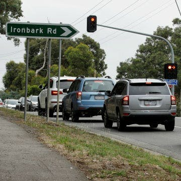 Cars on yan yean road near ironbark road intersection
