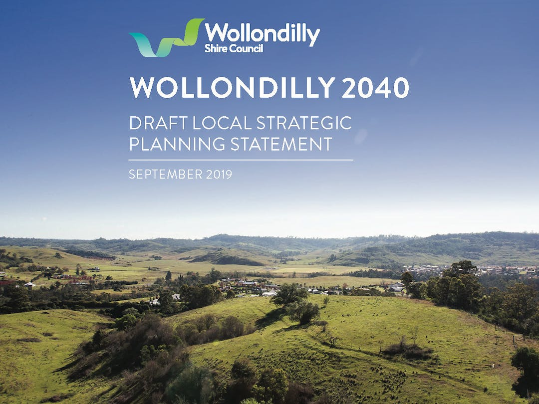 Image of the cover of the draft Wollondilly Local Strategic Planning Statement. Rolling green hills and blue sky.