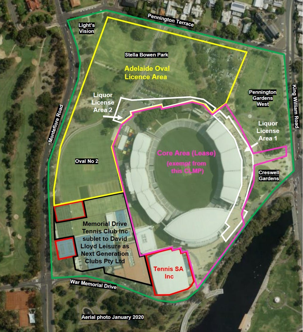 Adelaide Oval Precinct within Tarntanya Wama (Park 26) outlined in green