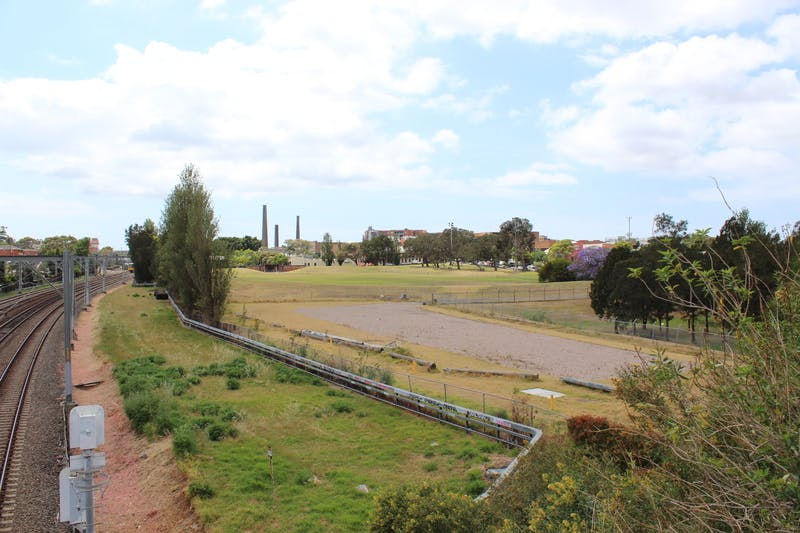 View from railway bridge towards Camdenville Park.