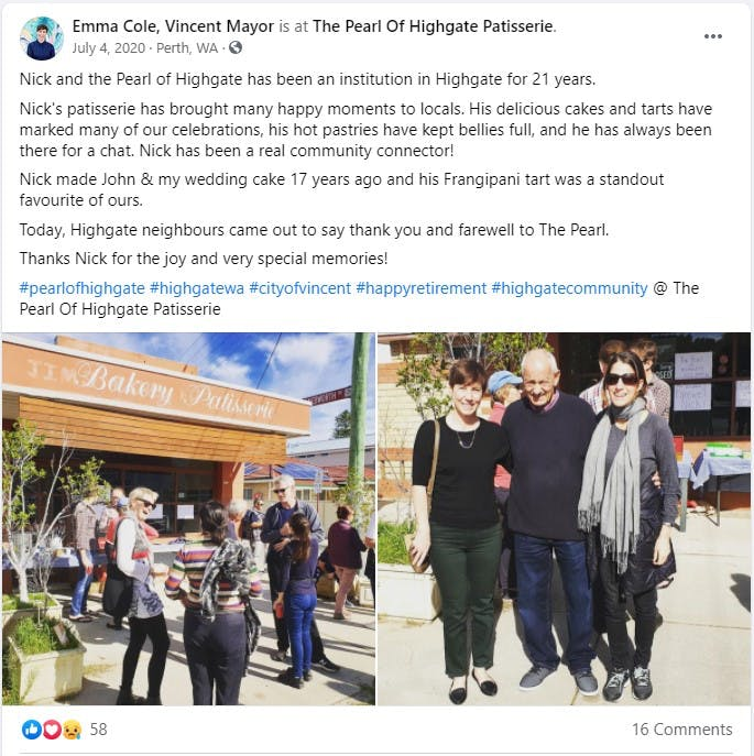 Emma Cole - Facebook Post