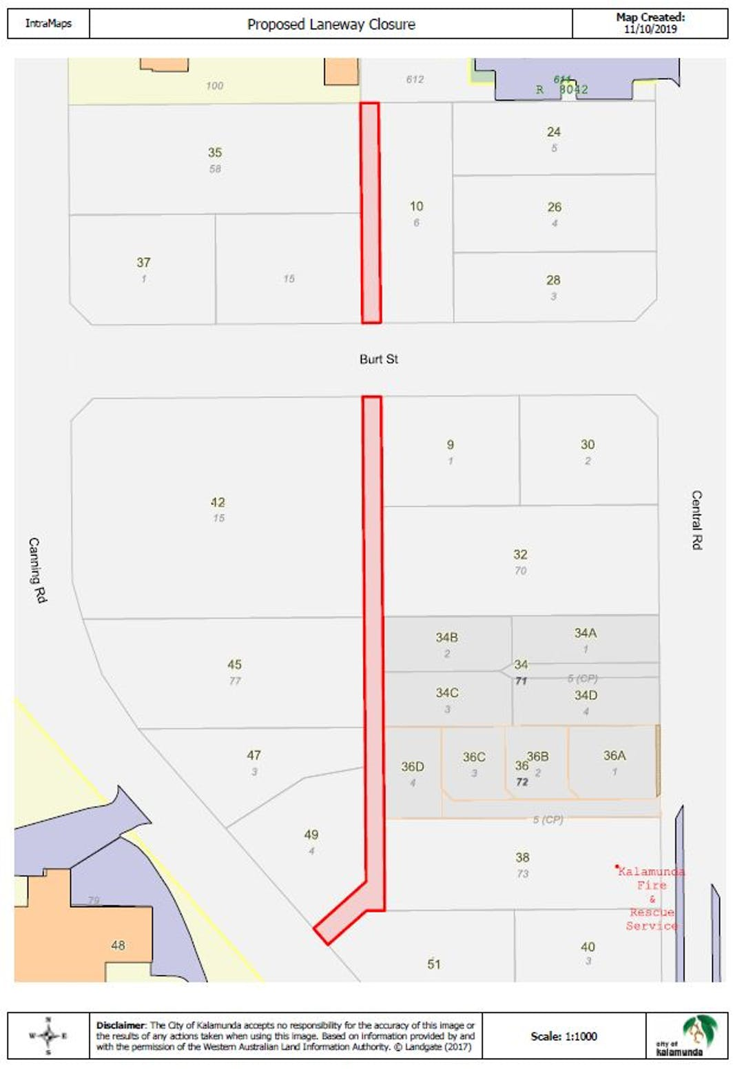 Proposed Permanent Road Closure: Laneway between Canning Road, Burt Street & Kalamunda Bus Station