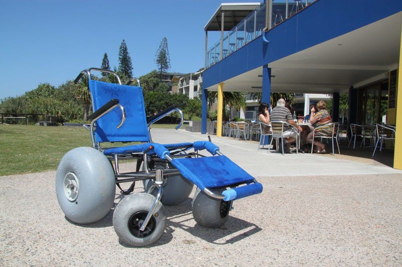 A new beach wheelchair provided by Tweed Shire Council and Cabarita Beach Surf Lifesaving Club for community use.