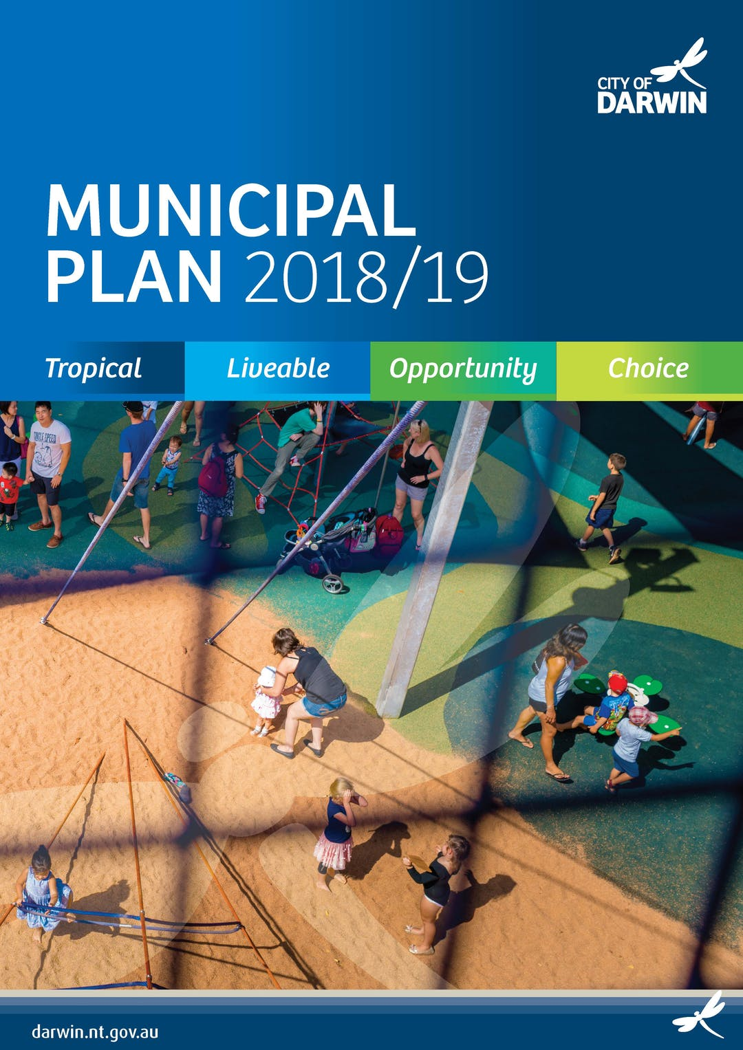 2018 - 19 Draft Municipal Plan front cover including an image of Bicentennial Park Playspace
