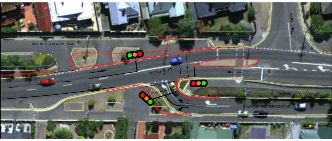 Concept plan of the proposal to improve pedestrian safety at the High Street and Howick Street intersection.  This includes traffic lights, pedestrian crossings and new kerbing and line markings.
