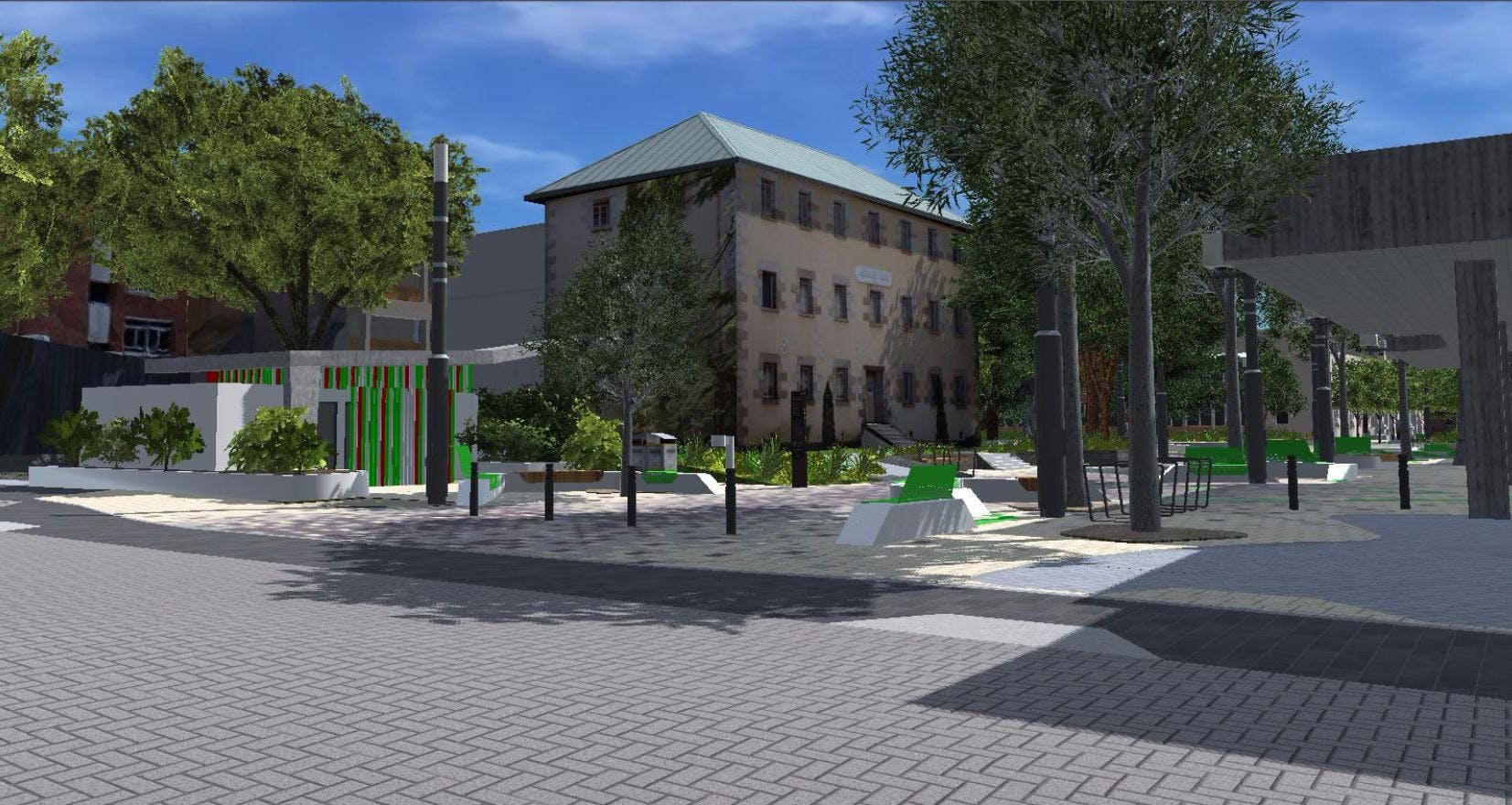Proposed view of amenities block from Charles Street 1