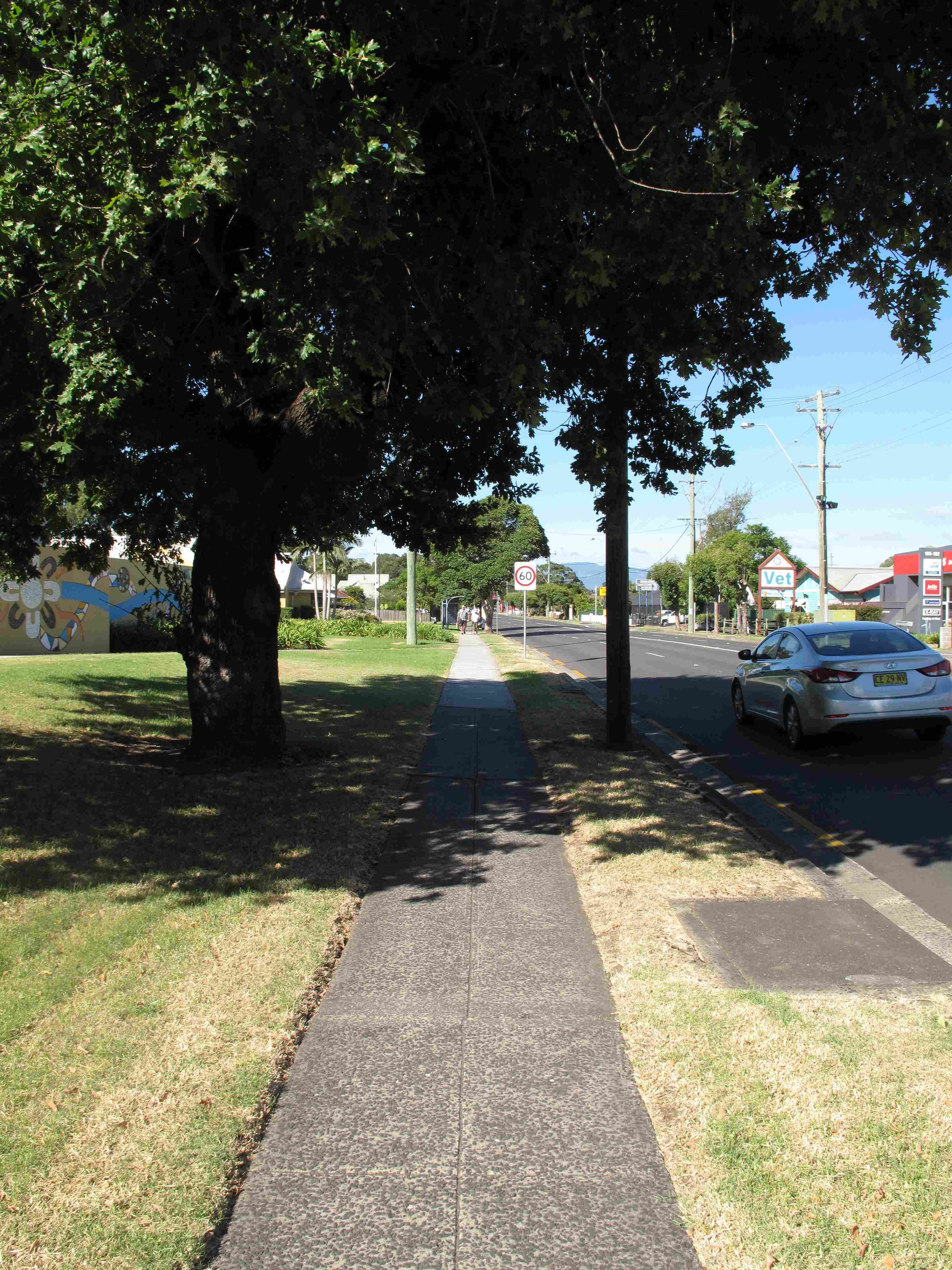 A shaded footpath on the Princes Highway