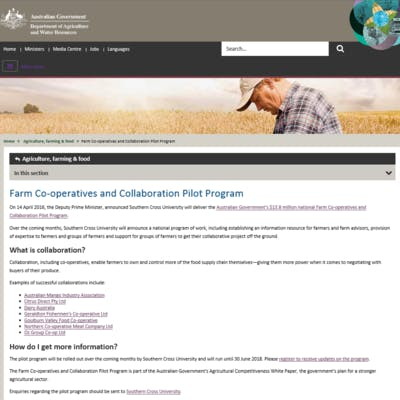 Farm Co-operatives and Collaboration Pilot Program