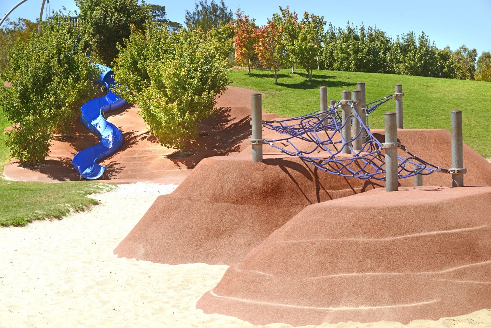 In Action: Regional Playspace Slide, Nets and Hill