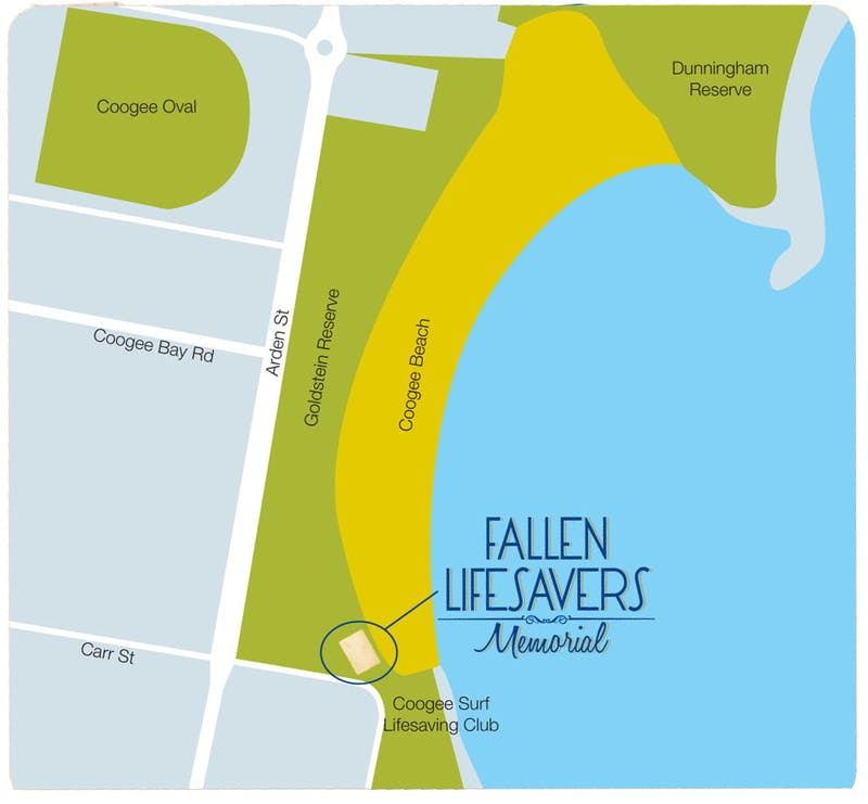 Location of Fallen Lifesavers Memorial