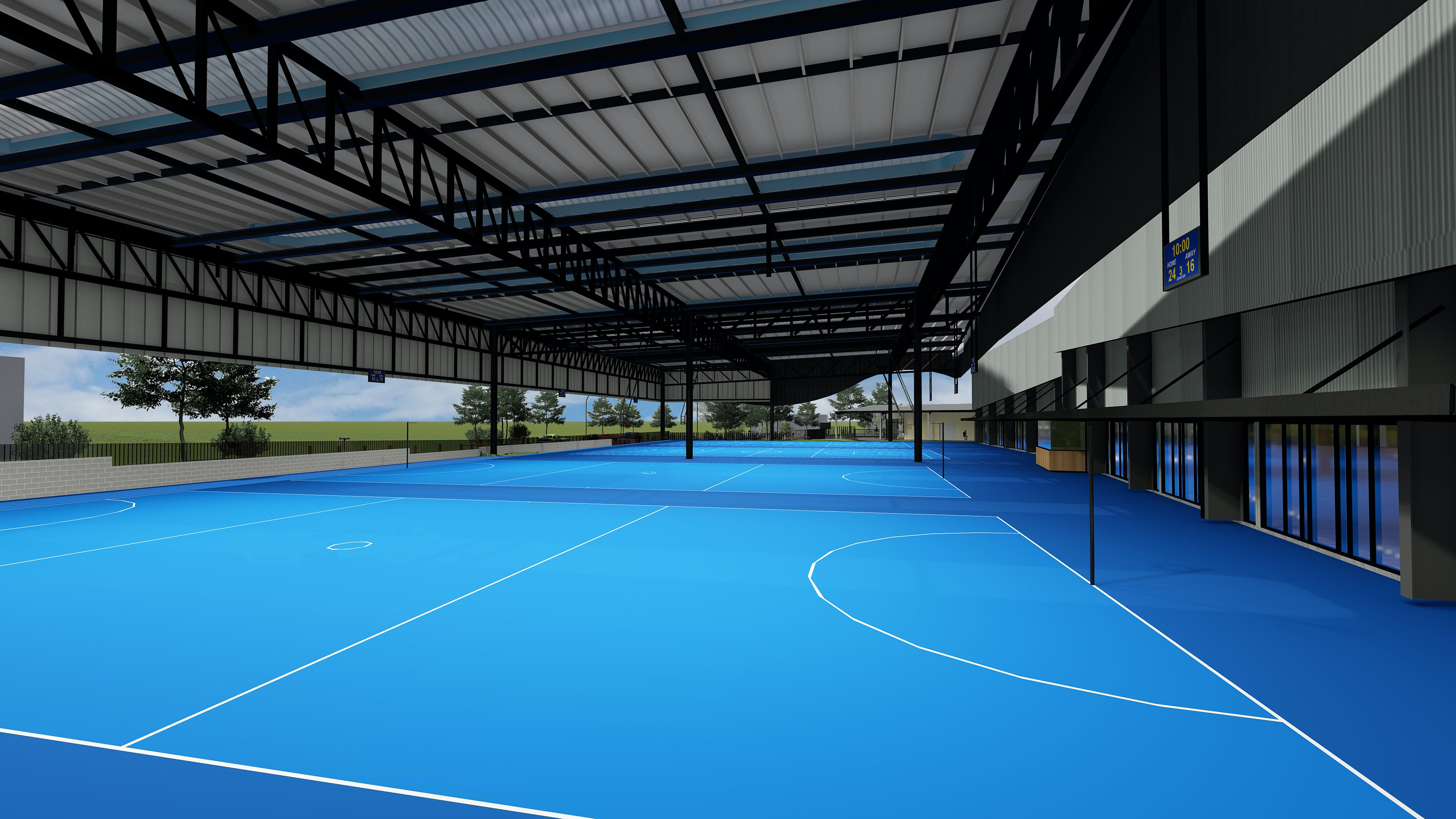 Interior view of the outdoor courts^