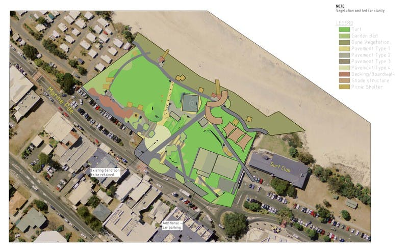 The proposed layout of Kingscliff Central Park.