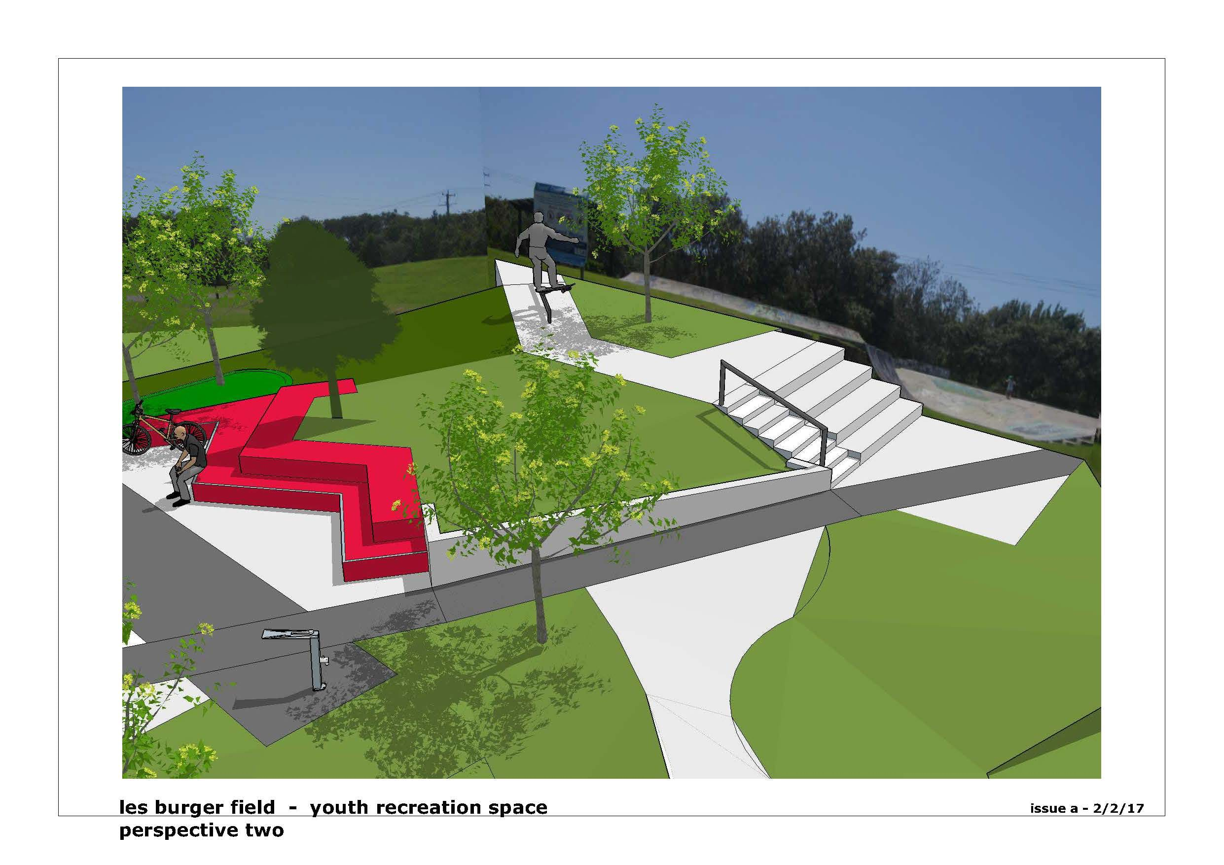 Artist's impression of the expanded youth recreation area - View 2