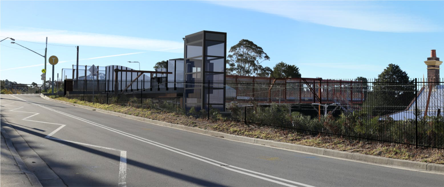 Artist's impression of the proposed Hazelbrook Station upgrade, subject to detailed design.