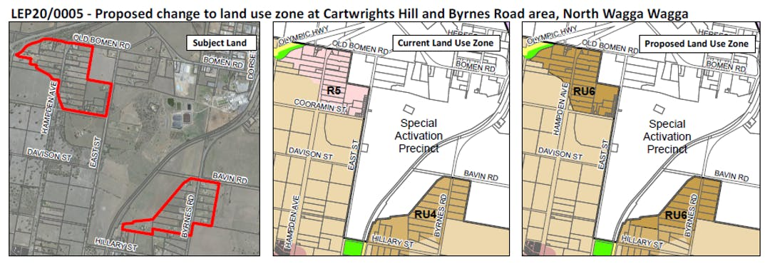 Mapping images of the Cartwright Hill and Bomen area, showing different land use zones including the Special Activation Precinct