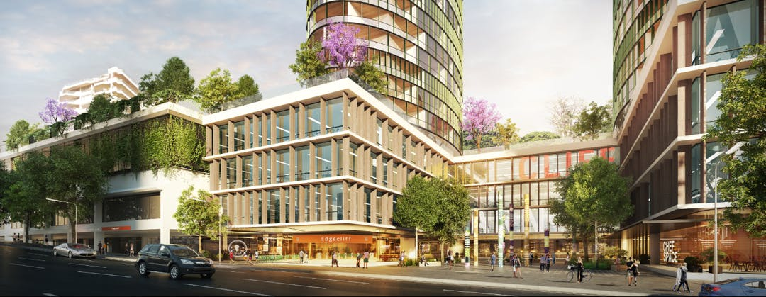 Photomontage of the future Edgecliff Commercial Centre, including residential and commercial developments