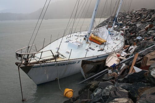 Boats affected by storm surge