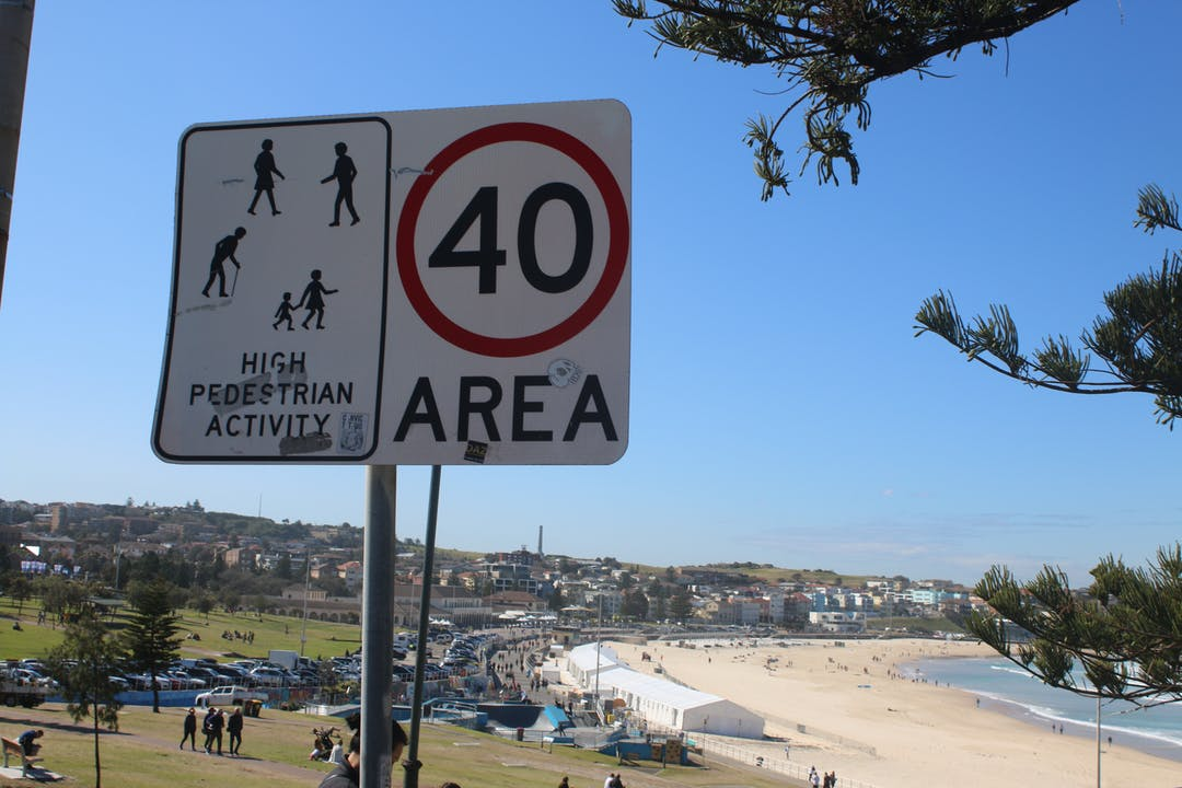 40km Throughout the LGA, speed sign from Bondi Beach