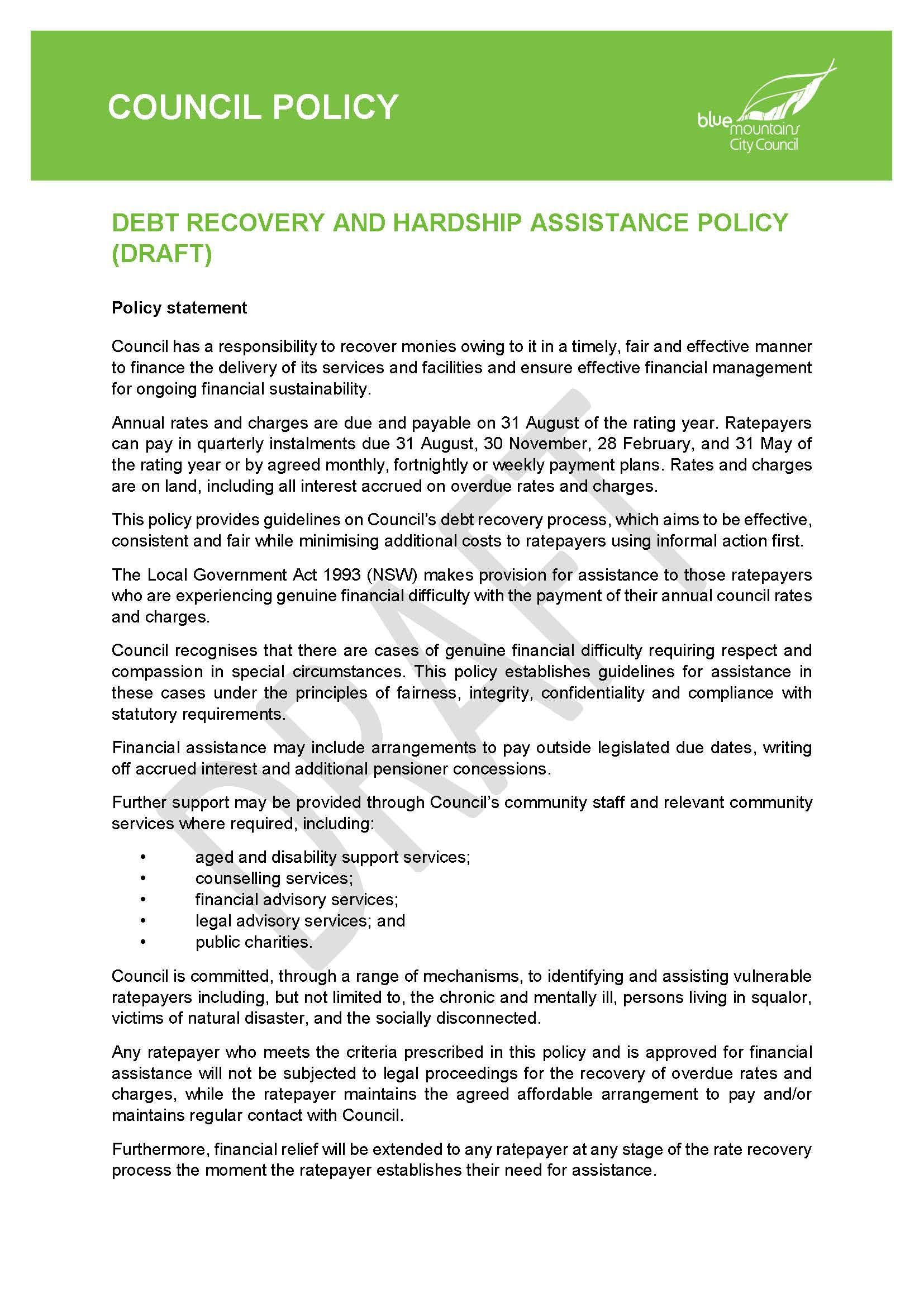 Draft Debt Recovery & Hardship Assistance Policy