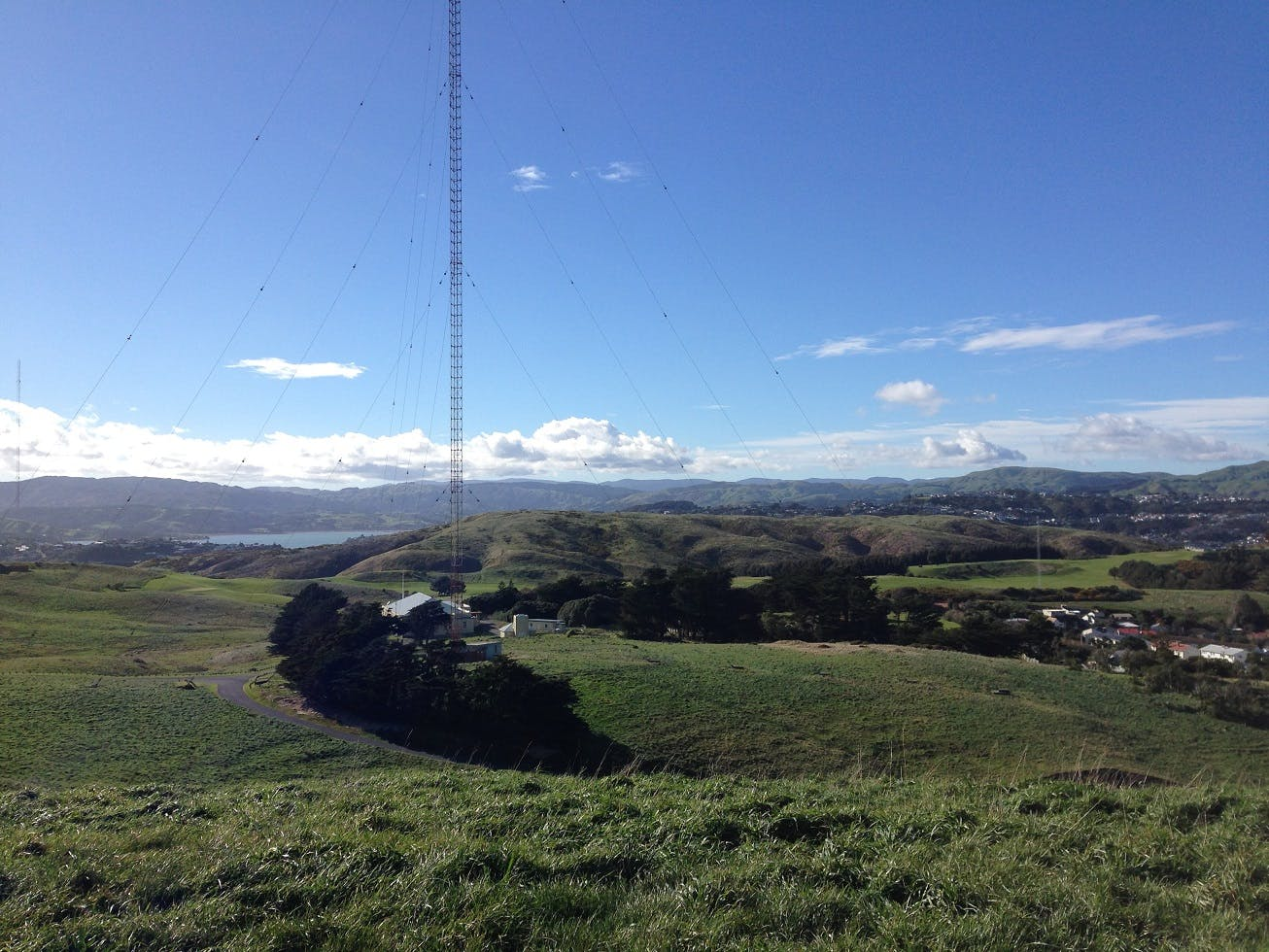 Radio NZ tower and golf course behind