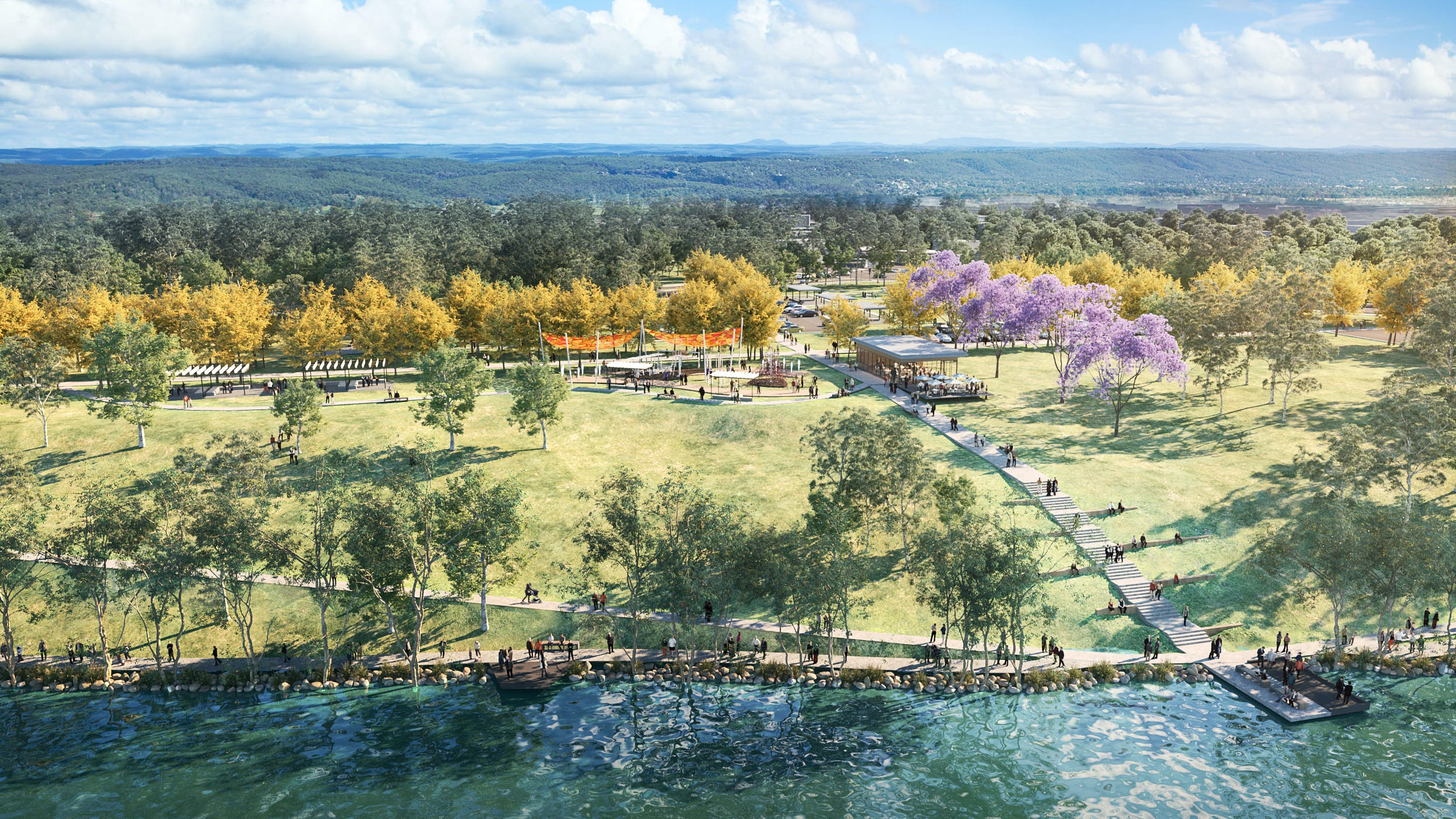 Artist impression of Regatta Park - river view