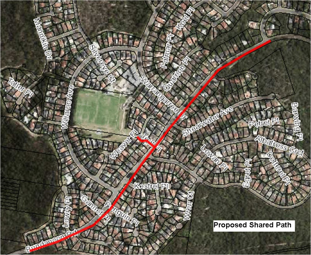 Construction of a shared path in the eastern footpath of Bundanoon Road – between the existing cycleway on the eastern side of the un-kerbed section of  Bundanoon Road, and the intersection of Bundanoon Road, with the fire trail linking to The Crescent , Woronora.