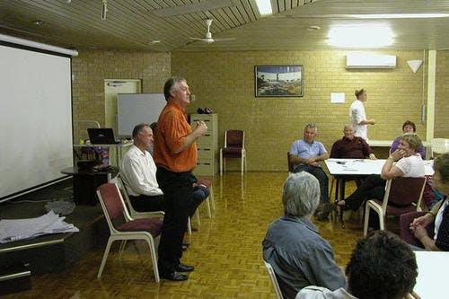 Shire President Wayne Sanford addresses the community forum