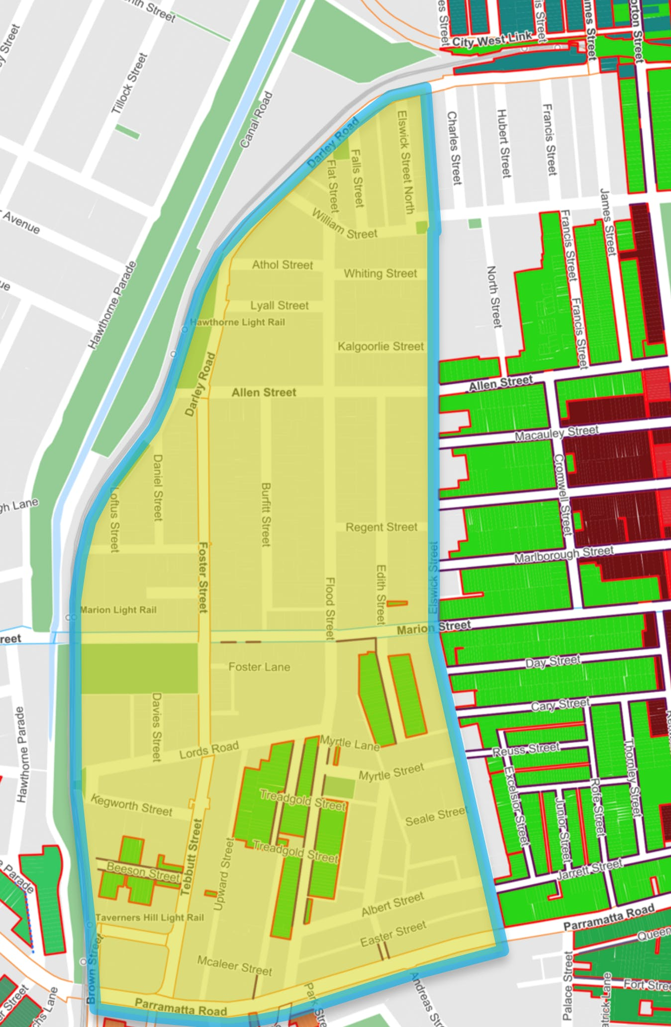 Leichhardt West Precinct Parking Study Area.png